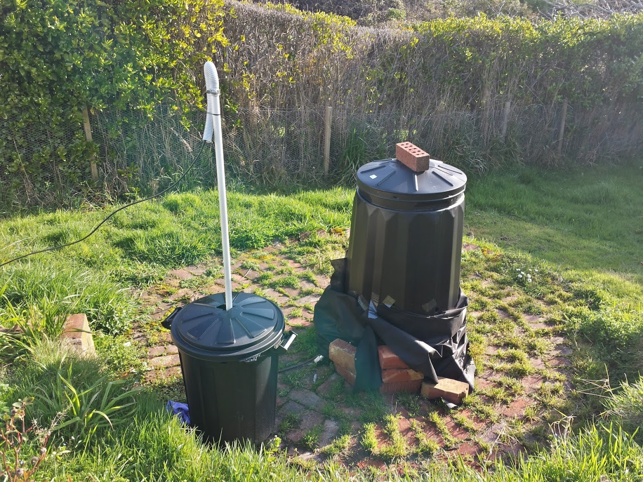 photo of the compost bins housing the magnetometers